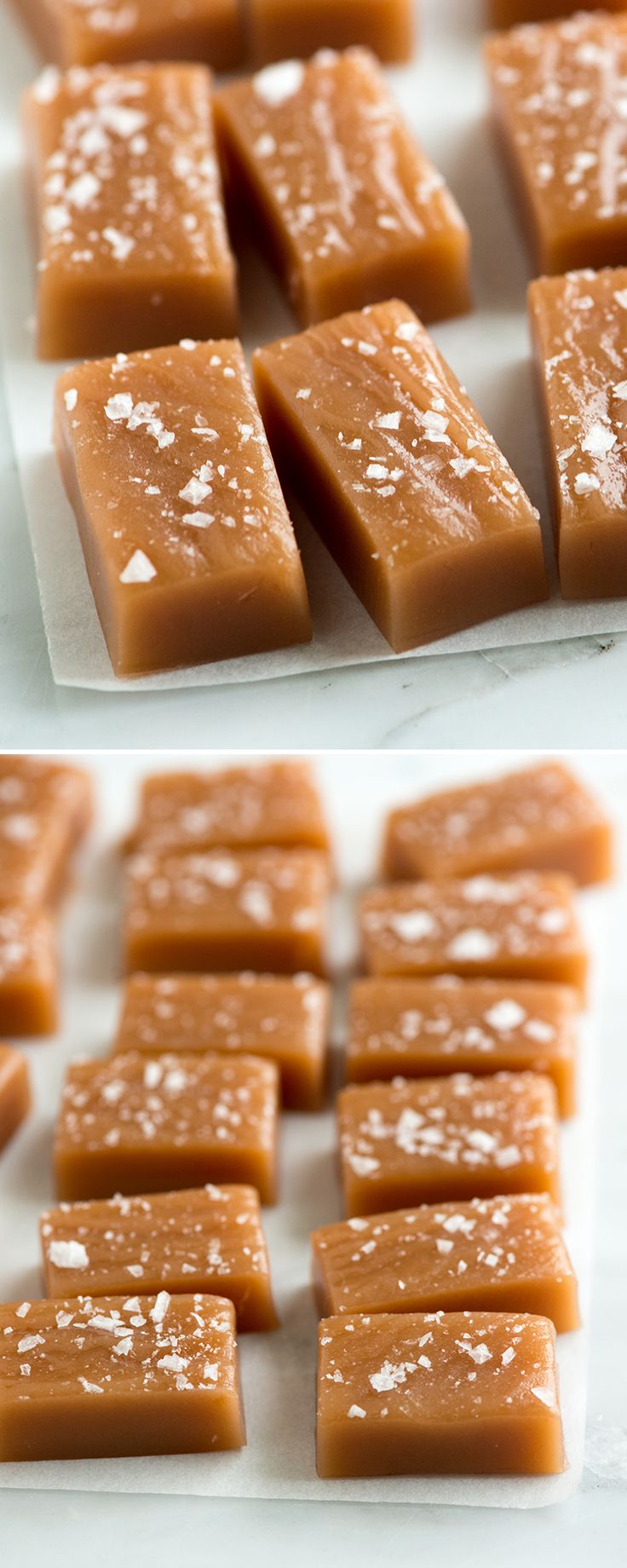 These salted caramels are soft, chewy and perfectly melt away in your mouth. Our salted caramels recipe is easy-to-follow and has step-by-step photographs to make this extra easy. From inspiredtaste.net | @inspiredtaste