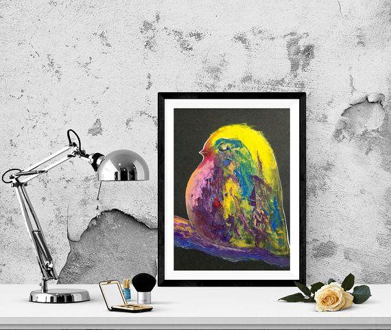 Bird N5  on a dark background. Oil Painting. by GausCraftStudio