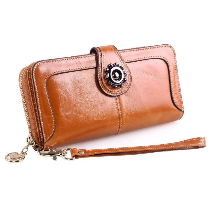 """Yafeige Womens Leather Wallet Clutch Long Purse Zippper Wristlet Money Clip Handbag (Brown-sunflower). *Material: Top grain oil wax cowhide leather . *Button Fly closure. *Structure: 14 Credit Card Slots and 1 photo slot,4 full length bill pockets, 1 long zip pocket, 1 A wrist band. Super capacity design, Easily hold your Samsung Galaxy Note, Iphone6s, Iphone6 Plus. *Product dimensions: (L)7.68"""" x (W)0.98"""" x (H)3.74"""" inches ,and the weight is 5.47 ounces. *Yafeige logo embossing. Handmade..."""