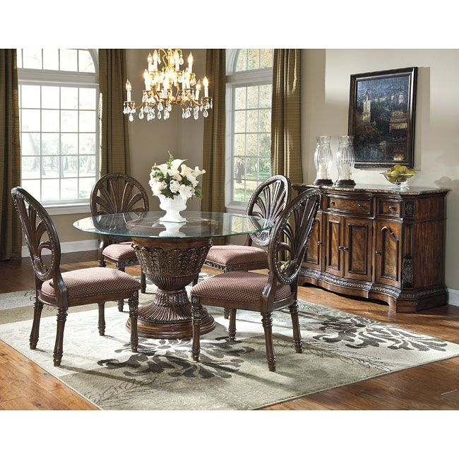 Ashley Millennium Ledelle Glass Top Table Set With Pierced Oval Back Chairs    Del Sol Furniture   Dining 5 Piece Set Phoenix, Glendale, Tempe,  Scottsdale, ...