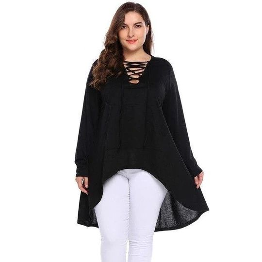 IN'VOLAND Women Pullover Sweatshirts Plus Size L-4XL Autumn Lace-up V-Neck Asymmetrical Large Shirt Loose Hoodies Tops Big Size