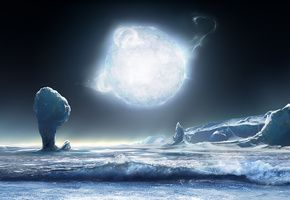 Обои Лёд, Ледник, Планета, Звезда, Свет