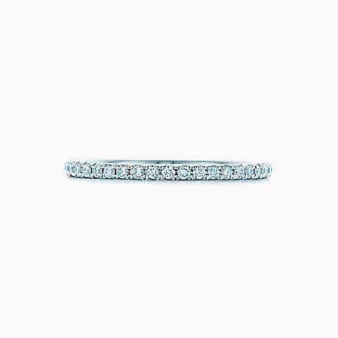Bague Tiffany Metro en or blanc 18carats et diamants.