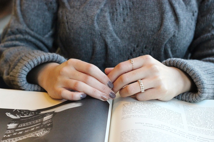 silver chain ring.