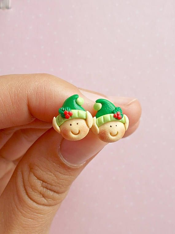 Christmas earrings Red earrings Elf earrings Festive earrings