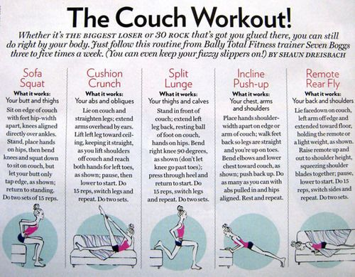 The Couch Workout!: Fit, Workout Exerci, Work Outs, Menu, Body Workout, Weightloss, Weights Loss, Couch Workout, Couch Potatoes