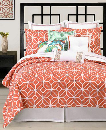 Macys.com Create a beachside getaway in your room with this Trina Turk Trellis Coral duvet cover set, featuring soothing coral and white hues. A jacquard weave fabric and floral pattern gives this set a whimsical appeal. Button closure. Sale $189. Also available in comforter set, sale $199.