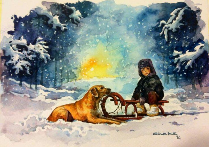dog and the boy. winter. watercolor