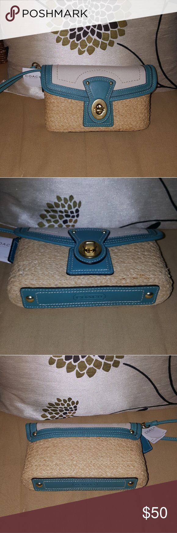 """Coach Legacy teal woven wicker wristlet New with tags Size 8"""" long X 5"""" high X 2"""" wide. Coach Bags Clutches & Wristlets"""