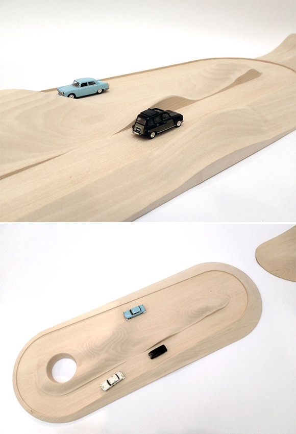 Modern Wooden Toy Car Track & Mountain by Compagnie, France