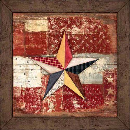Rustic Americana Patchwork Star Wood Grain Primitive Patterned Panels Painting Red & Brown Canvas Art by Pied Piper Creative