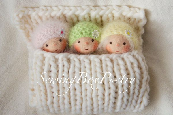 Three tiny little Waldorf inspired Baby Dolls - Waldorf doll- inspiration! look at those faces!