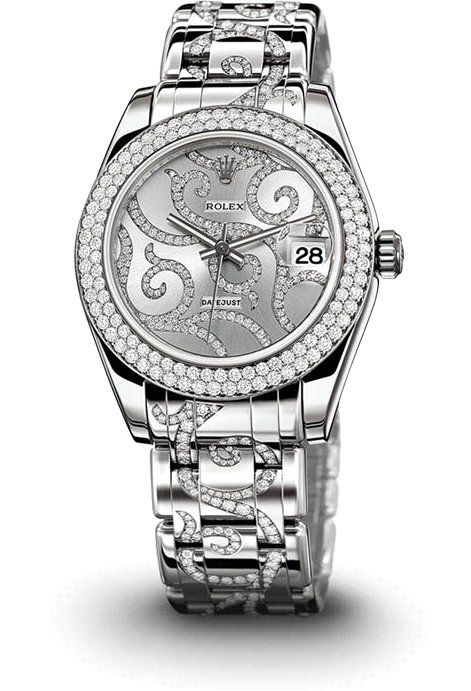♛ Rolex 18 ct white gold / diamonds ♛ In my dreams..lol...but maybe I can find something similar.