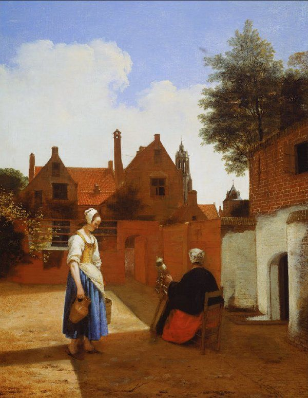 Pieter De Hooch Paintings Courtyard In Delft At Evening A Woman