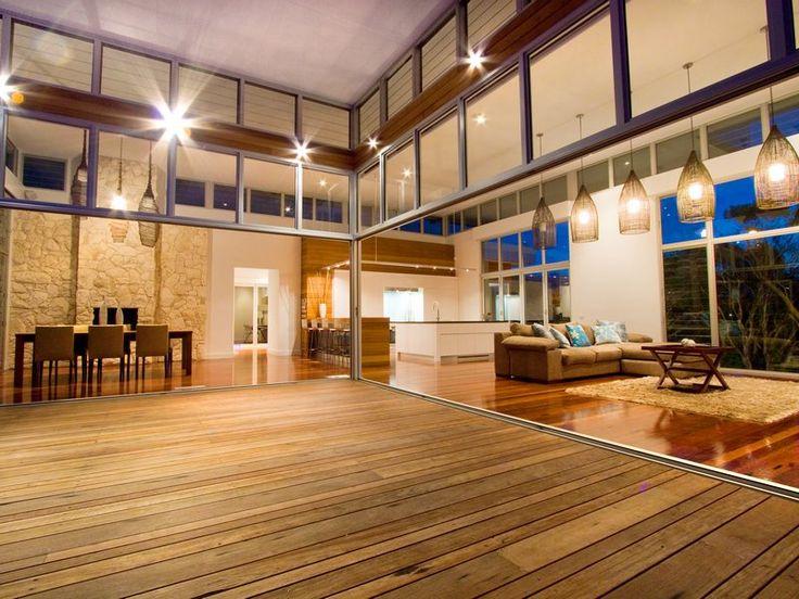 Mixed width Jarrah decking running into Ironbark flooring #deck #timberflooring