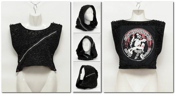 Punk is Dead #01 // Crop Top - Sleeveless Top - Bottoni Pressione - Hooded Hat - Independent Hood - Cappuccio Indipendente - Alternative