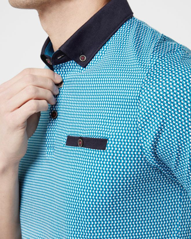 Geo spotted cotton polo shirt - Teal | Tops & T-shirts | Ted Baker
