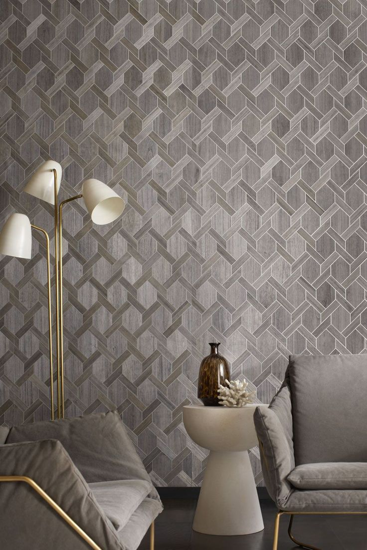 Yacht Club wallcovering is an interlocking chain pattern inspired by rich wood accents modernized with hits of metallic for a modern feel.