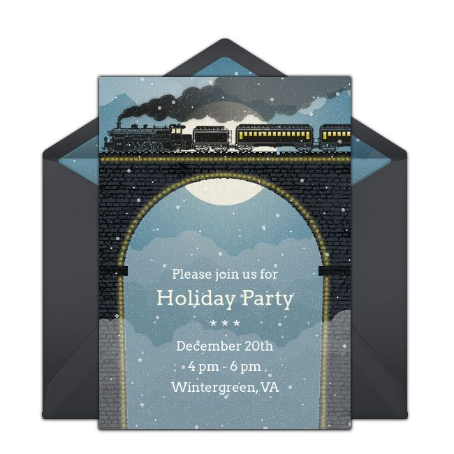 Customizable, free Christmas Train online invitations Easy to - free xmas invitations