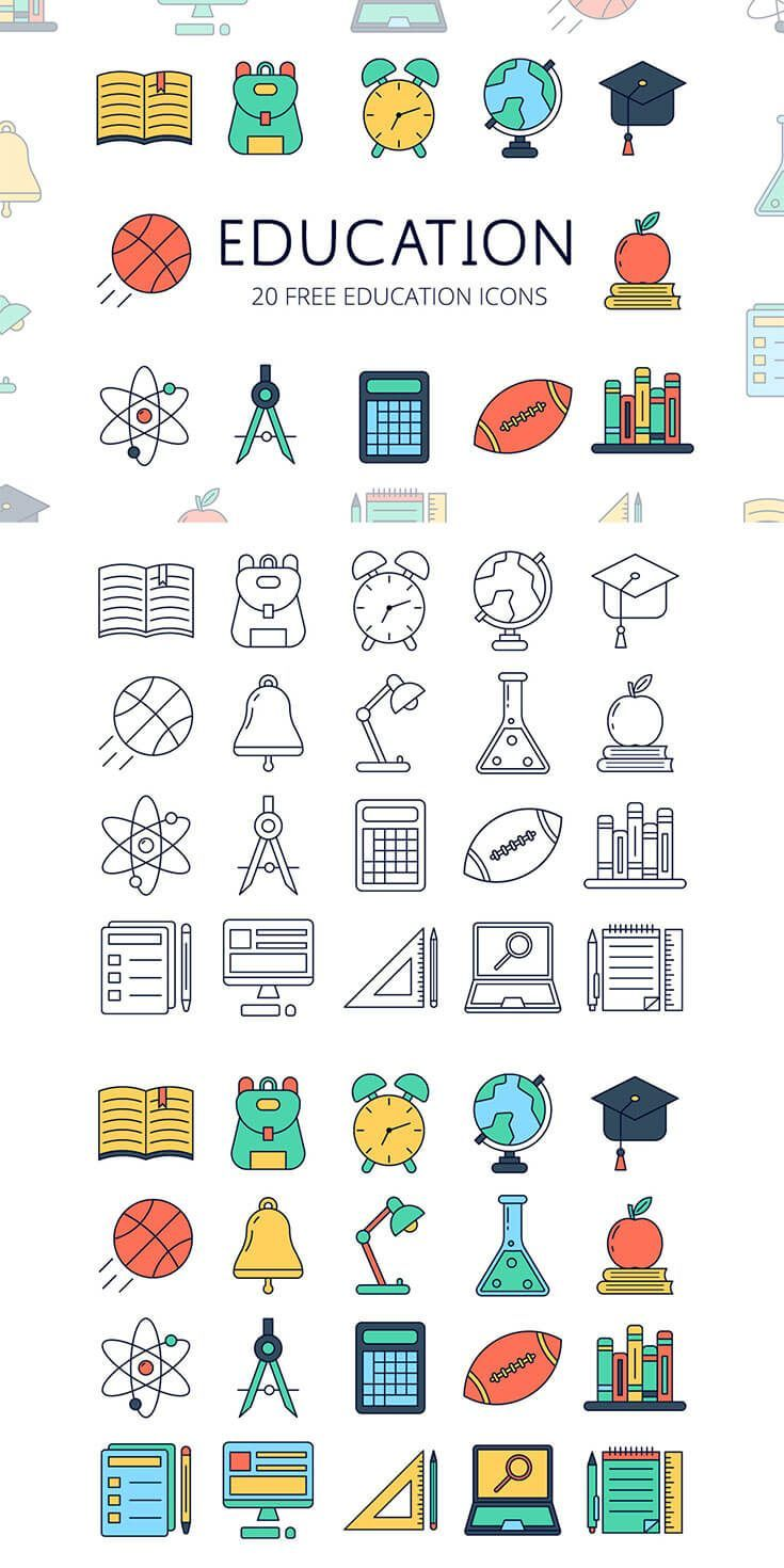 Free Education Vector Icon Set
