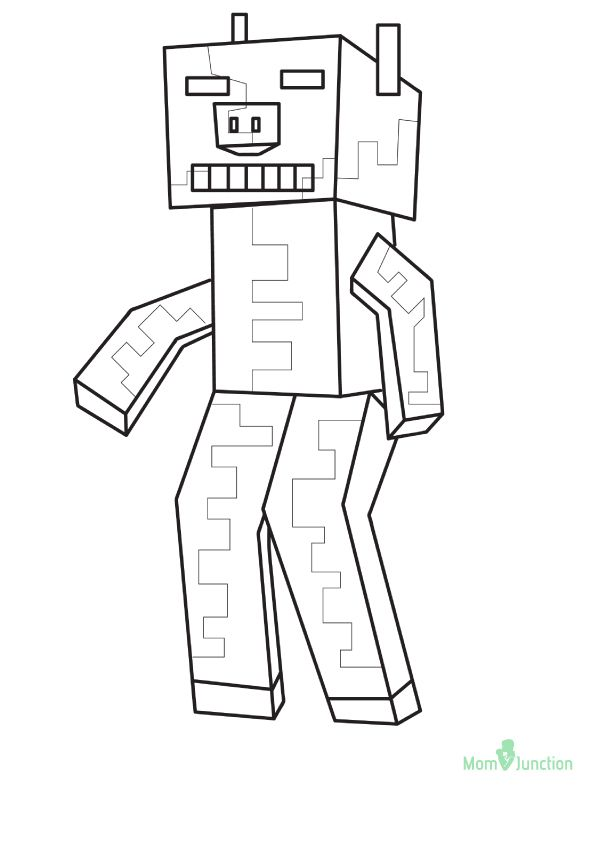 Zombie And Zombie Pigman Coloring Page
