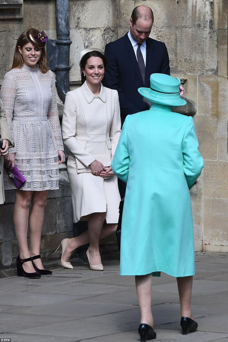 Catherine, Duchess of Cambridge performs a curtsy to Queen Elizabeth II as she attends Easter Day Service with Prince William, Duke of Cambridge and Princess Beatrice of York at St George's Chapel on April 16, 2017 in Windsor, England.