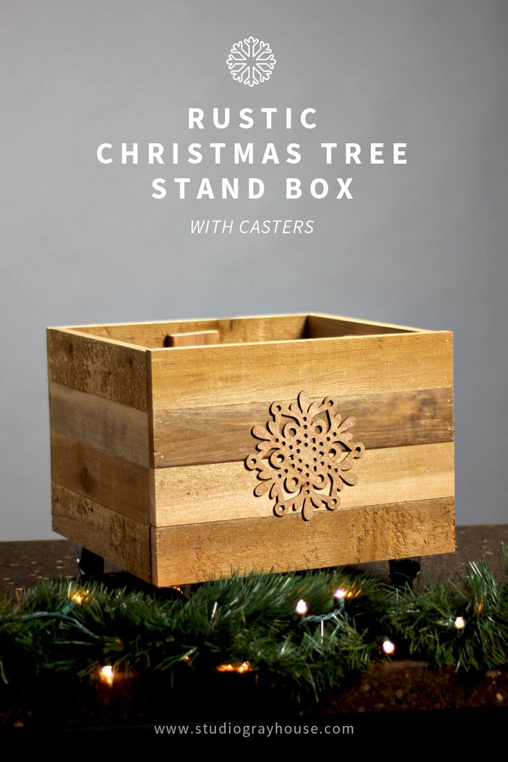 Hide your tree stand and make your Christmas tree mobile with this super easy DIY rustic Christmas tree stand box on casters!