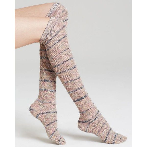 Free People Knee Socks - Summit (850 PHP) ❤ liked on Polyvore featuring intimates, hosiery, socks, accessories, free people slip, knee hi socks, free people socks, knee high socks and double layer socks