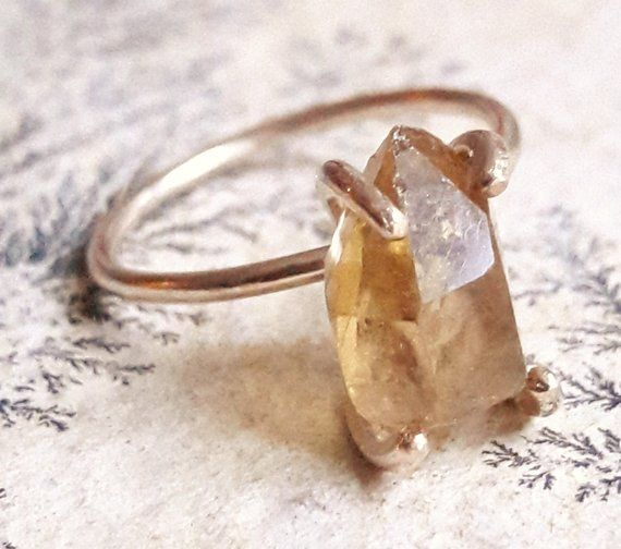 Genuine Citrine birthstone jewelry | Natural citrine ring November Birthstone Ring Rough Citrine ring Raw citrine crystal jewelry