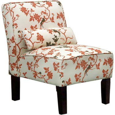 Carson Upholstered Accent Slipper Chair Rust Floral
