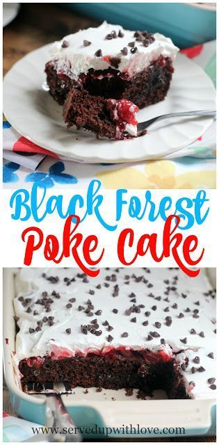 Black Forest Poke Cake recipe from Served Up With Love makes an old school poke cake sinfully delicious. www.servedupwithlove.com
