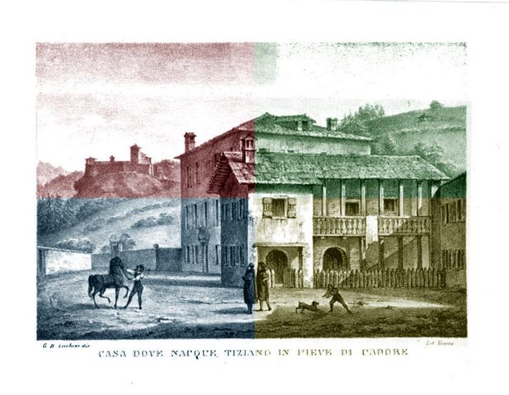 La Casa di Tiziano Vecellio a Pieve di Cadore in una litografia del 1833