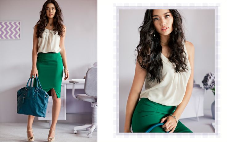 Rock this to the office all summer long.: Green Skirts, Offices Looks, Offices Attire, Profess Outfits, The Offices, Offices Outfits, Work Outfits, Green Pencil Skirts, Offices Wear