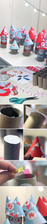 WC-paperirullatontut. lasten | askartelu | joulu | käsityöt | koti | kierrätys | DIY ideas | kid crafts | christmas | home | recycling | Pikku Kakkonen