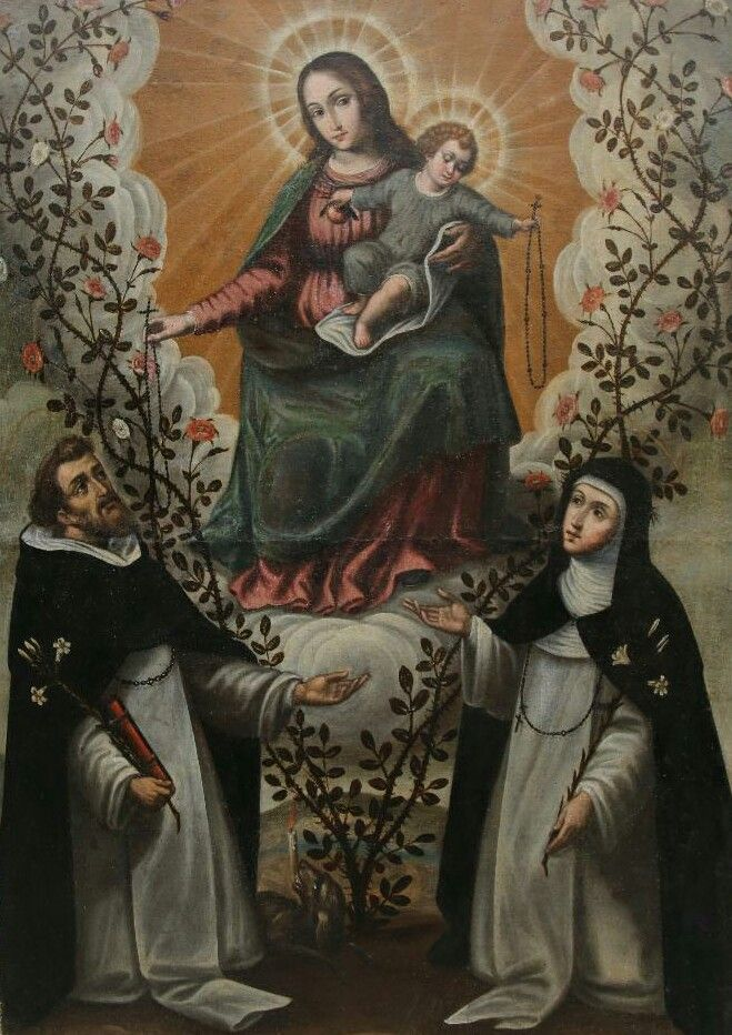A 17th century Spanish painting of Our Lady of the Rosary with St Dominic and St Catherine of Siena.