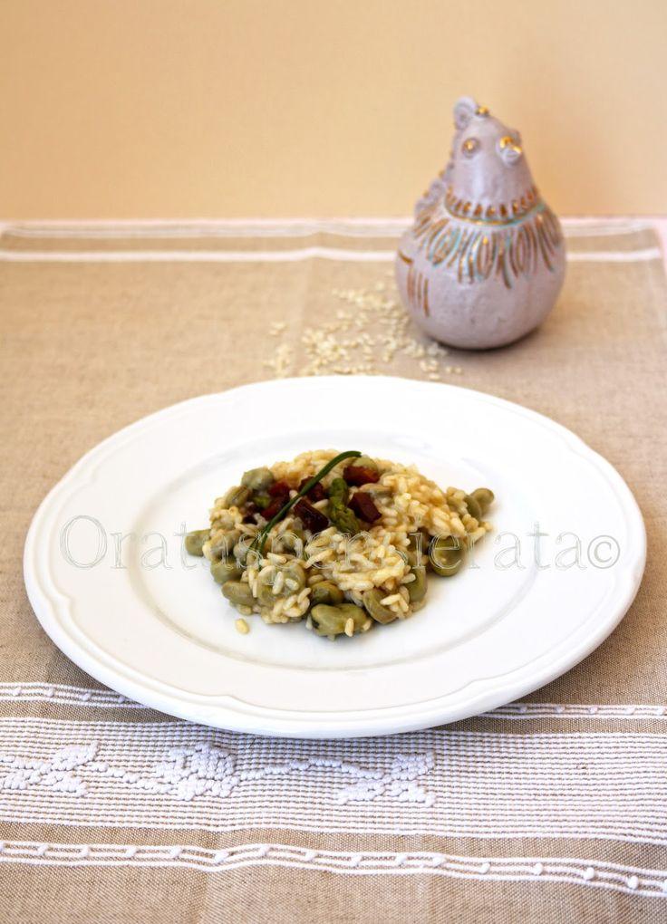 Risotto con fave, asparagi e petto d'oca affumicato, foto Orata Spensierata