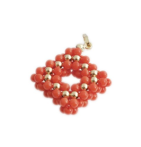 Ciondolo in Corallo Canna di Bambù e Oro 18k £60