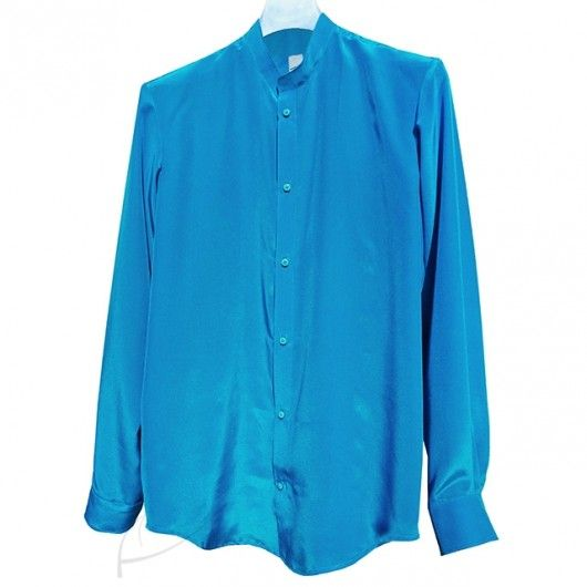 Turkusowa koszula jedwabna ze stójką. Do zamówienia w dowolnym rozmiarze i kolorze w butiku latkafashion.com