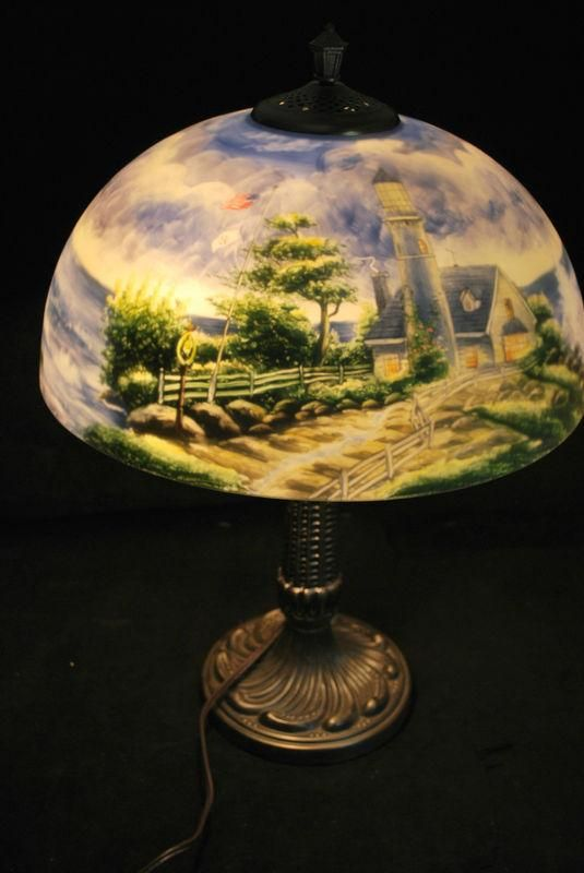 Thomas Kinkade Reverse Painted Table Lamp Quot A Light In The