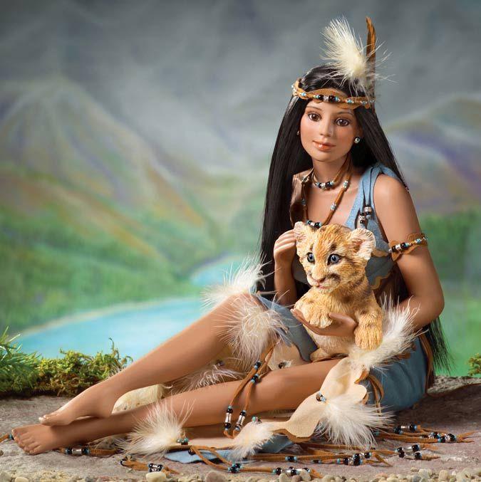 ashton drake native american dolls | Native American-with-Cougar-by-Cindy-McClureAshton-Drake-2005.jpg ...