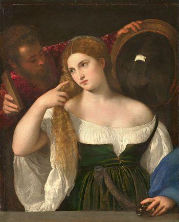 femme à sa toilette LE TITIEN        Tiziano Vecellio plus communément appelé Titien ou Le Titien, né vers 1488 à Pieve di Cadore, mort le 27 août 1576 à Venise, est un peintre italien de l'école vénitienne, auteur d'une œuvre picturale considérable.