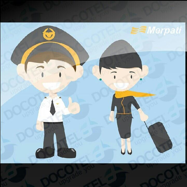 Merpati Character - Pilot dan Pramugari - #docotel #docoart #docotel.com