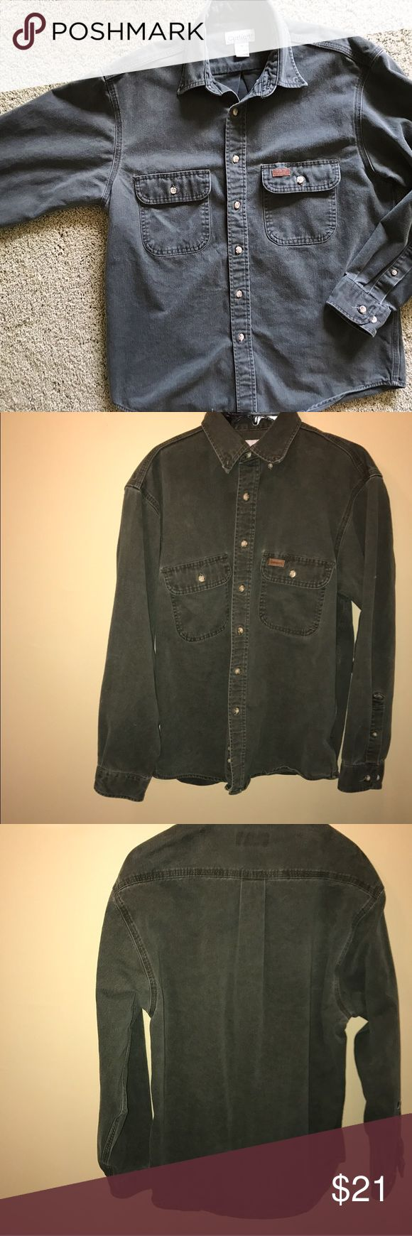 Men's Carharrt Green Twill Button Down Excellent used condition. 100% Features 2 chest pockets, and adjustable cuffs. Machine wash. (The difference in color in the pics is due to the flash being on in the photos that the shirt is hanging up in- it's super hard to get an accurate color of this in a photo, so I decided to show both 😜.) Carhartt Shirts Casual Button Down Shirts