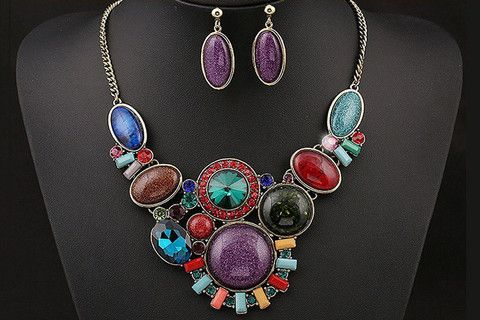 Vintage Style Beads Resin Necklace and Earrings | Stylish Beth