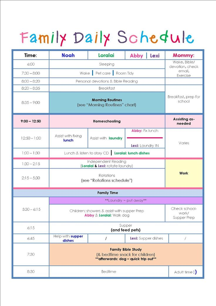 family daily routine schedule template  u2026