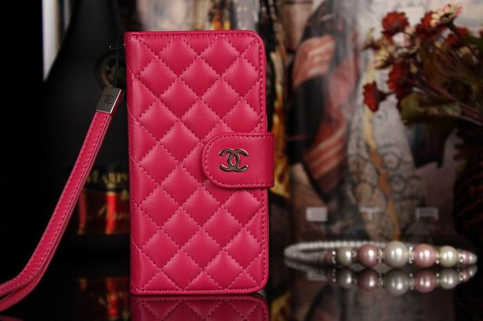 Chanel iphone 6 Case Design Leather Cover Book Wallet Cover grid Rose red