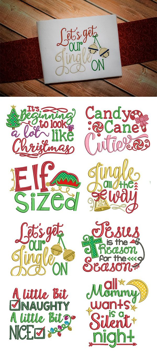 Our Christmas Word Art design set is 8, super adorable Christmas word art designs perfect for customizing your holiday projects! Available for instant download at designsbyjuju.com
