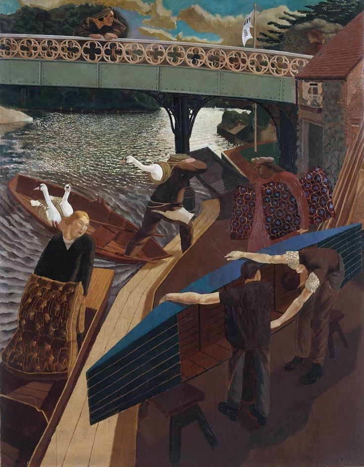 Sir Stanley Spencer, 'Swan Upping at Cookham' 1915-19...my favorite Spencer painting. Saw it at the Tate in 2004...amazing color, composition, and perspective...