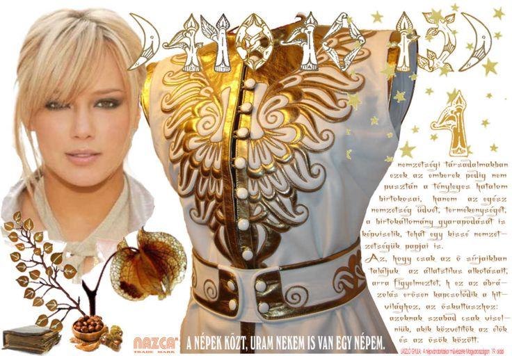 HONFOGLALÁS KORI női bőrkaftán övvel, pártával. Fehér-és arany színű,igen finom borjú bőrből készült. /NAZCA Műhely/