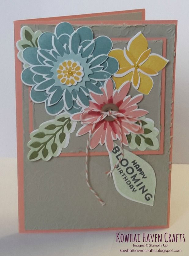 Cards of the month by Kowhai Haven Crafts using Stampin' Up! products. The Blooming Birthday Card was made using the Flower Patch Photopolymer Bundle.